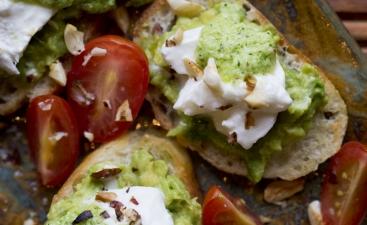 Burrata with Chipea Pesto and Toasted Hazelnuts